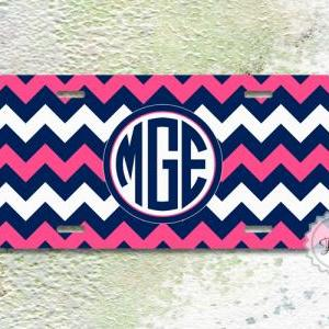 License plate - Neon Pink and Navy ..