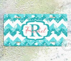 Turquoise floral chevron monogram license plate personalized car tag Dusk blue chevron 