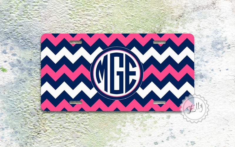 License plate - Neon Pink and Navy blue chevron monogrammed front car tag aluminium front plate
