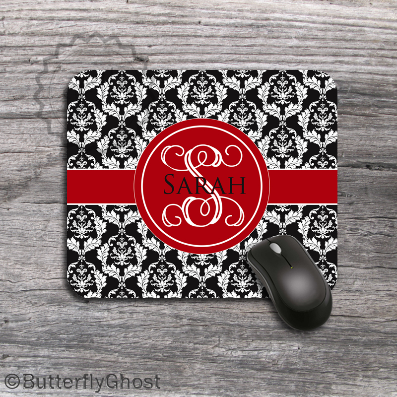 White Lace Computer Mousepad - Red Ribbon Monogrammed padding, custom desk accessory