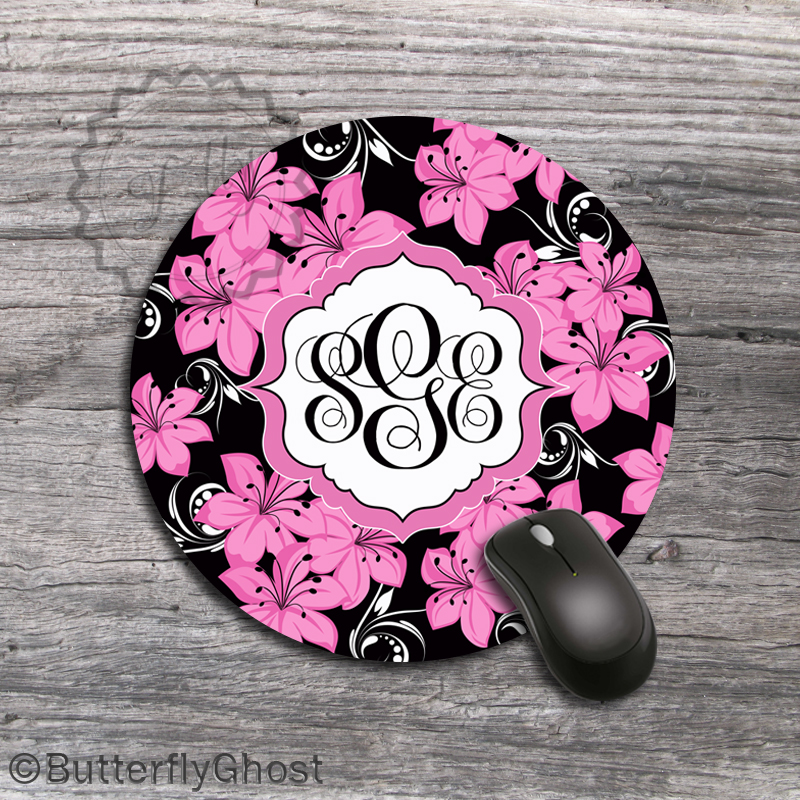 Pink Lilies Custom Mousepad - Monogrammed office gift, design Christmas accessory