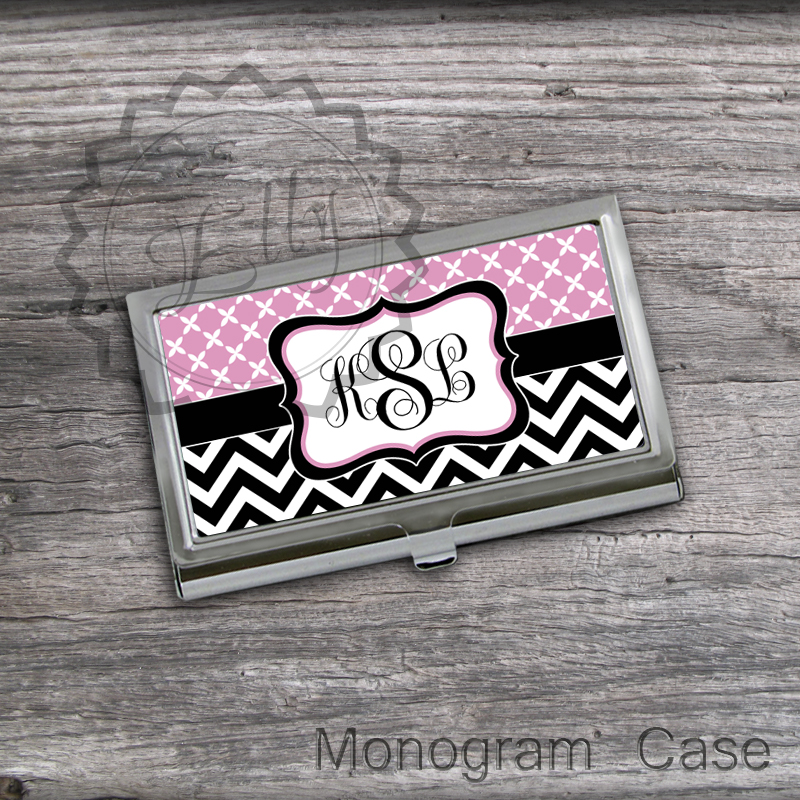 Baby Pink and Black chevron set Card Holder - Custom monogrammed Business Card Holder, office boss card case gift