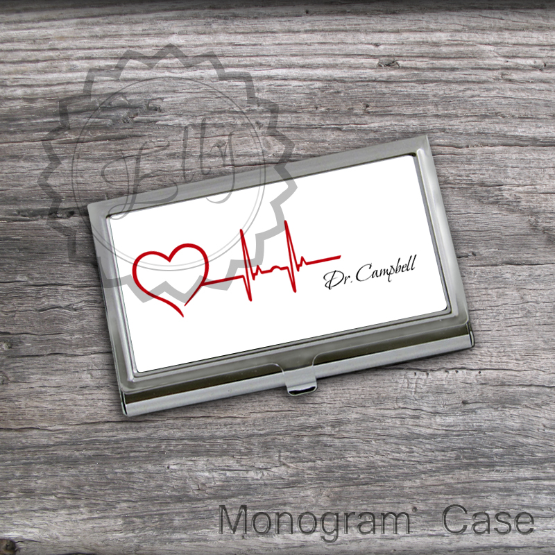 Design Heartbeat Card Holder - Custom Name or Monogram Card keeper, steel card case, unique gift