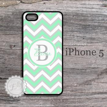 Mint chevron iPhone cases iphone case with preppy style monogram snap on cover