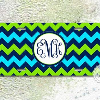 Personalized license plate blue and green chevron monogrammed front car tag sweet 16 gift