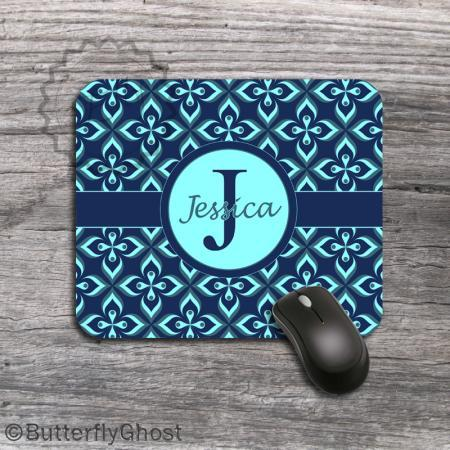 Flowered Pattern Computer Mousepad - Tiffany round label design padding, customized desk accessory
