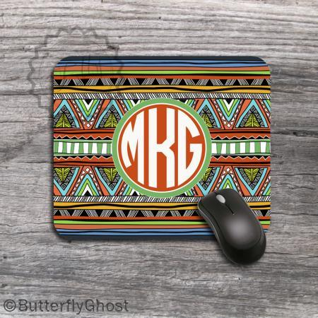 Round Tribal Pattern Mousepad - Computer Personalized aztec colors padding, desk accessory, office boss gift